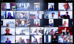 """BRITAIN-HEALTH-VIRUS-POLITICS<br>A handout image taken and released by 10 Downing Street on March 31, 2020, shows a scrren relaying a Zoom video conference with Britain's Prime Minister Boris Johnson (top row L), chairing a remote session with minister of his Cabinet, whilst still self-isolting from within No 11 Downing Street, in London. - Britain's Prime Minister Boris Johnson and his Health Secretary Matt Hancock, have been self-isolting since Friday, after announcingthat they had tested positive for COVID-19, as infection rates accelerated and daily death rate rose sharply. (Photo by Pippa FOWLES / 10 Downing Street / AFP) / RESTRICTED TO EDITORIAL USE - MANDATORY CREDIT """"AFP PHOTO / 10 DOWNING STREET / PIPPA FOWLES"""" - NO MARKETING - NO ADVERTISING CAMPAIGNS - DISTRIBUTED AS A SERVICE TO CLIENTS (Photo by PIPPA FOWLES/10 Downing Street/AFP via Getty Images)"""