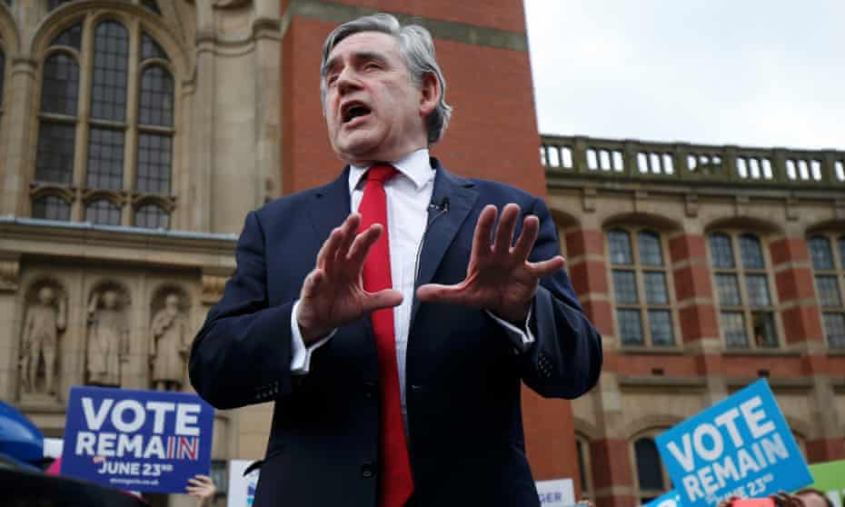 Gordon Brown speaking at a Britain Stronger in Europe rally in Birmingham in June.