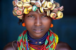 A young Dassanech girl, in Omorate, Ethiopia.