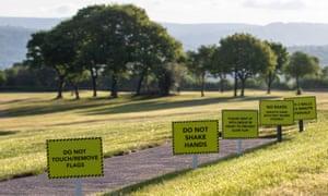 Safety signs at Bryn Meadows golf club in Blackwood, Wales.