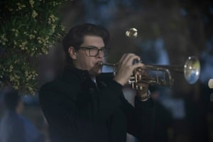 Hayden Dalton plays the last post at the Anzac Day dawn service at Harden Cenotaph on the South-West slopes of NSW 60kms North-West of Yass NSW this morning. Sunday 25th April 2021. Photograph by Mike Bowers. Guardian Australia