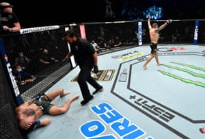 Dustin Poirier reacts after his knockout victory.