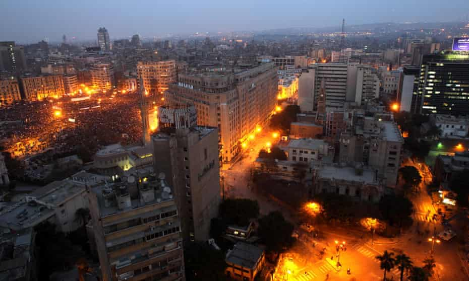 Cairo on the evening of the 'march of a million' rally on 1 Febraury 2011.