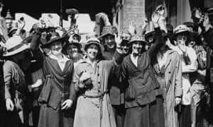Female bus workers strike over equal pay demands in August 1918.