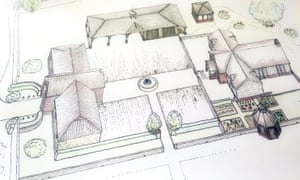 Sketch of proposed replacement dwelling and outbuildings.