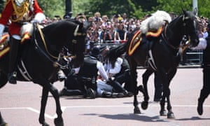 Ex-British army chief falls from horse after trooping the