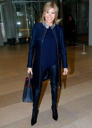 That Louis Vuitton coat again at Paris fashion week.