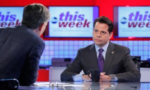 Former White House Communications Director Anthony Scaramucci being interviewed, in August 2017, by George Stephanopoulos – his first television interview after being sacked