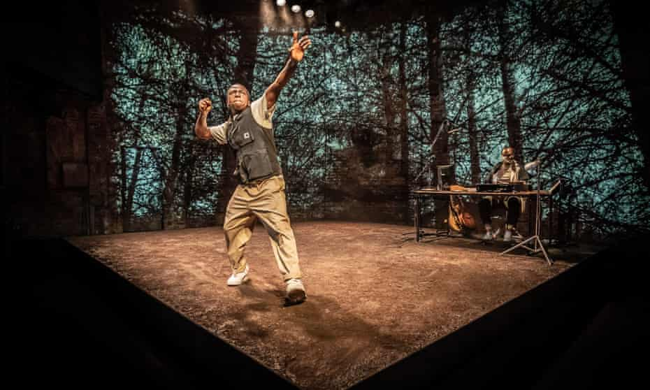 Masterful mood changes ... David Jonsson, with composer and musician Femi Temowo, in And Breathe... at the Almeida.