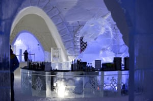 On the rocks? The hotel bar keeps the drinks on ice