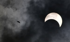 A bird flies past as the moon moves in front of the sun, in Bangkok