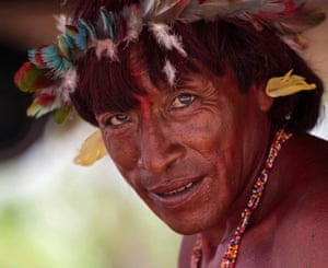 An Araweté man living in the Xingu river basin in Para, Brazil.