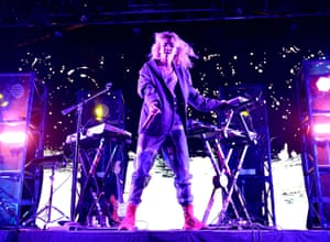Grimes performs at Coachella: one of the few women on the bill.