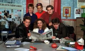 Dexter Fletcher (left) with the cast of TV's Press Gang.