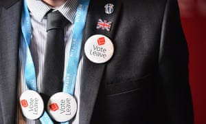 A man with vote leave EU badges attends the Scottish Conservative party spring conference in Edinburgh.
