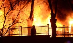 Fires after a car bomb in Ankara.