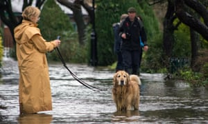 A woman tries to walk her dog among floodwaters in Otley, West Yorkshire, which experienced its worst flooding in 30 years after heavy rains.