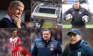 Clockwise from top left: Arsène Wenger, White Hart Lane, Craig Shakespeare, Tony Pulis, Sam Allardyce and Manolo Gabbiadini.