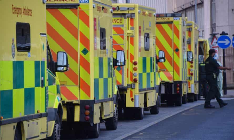 Ambulances queue outside Royal London hospital.