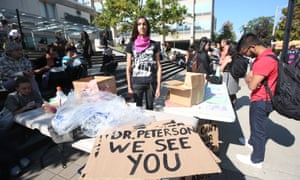 'Free-speech martyr or transphobe?': Toronto student Cassandra Williams joins a protest on campus  against the controversial Jordan Peterson.