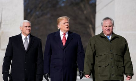 Mike Pence, Donald Trump and and David Bernhardt arrive to place a wreath at the Martin Luther King Memorial in Washington.