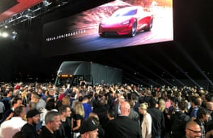 The presentation included the surprise reveal of a new Tesla sports car.