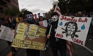 Protesters in California march against the Dakota Access pipeline.