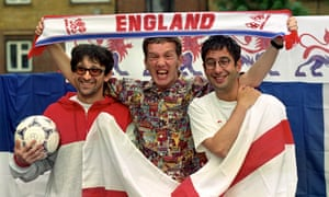 Ian Broudie (left), Frank Skinner and David Baddiel promote the release of their Three Lions World Cup single in 1998.