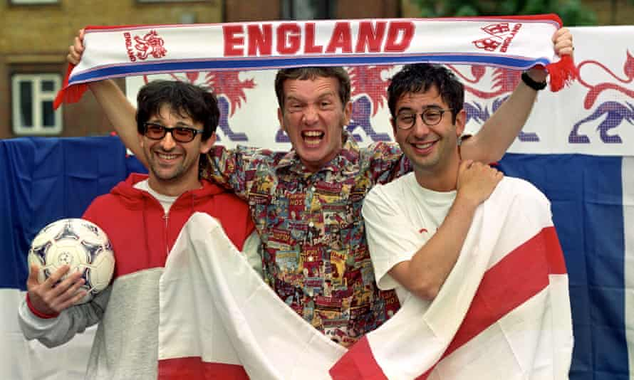 Ian Broudie from the Lightening Seeds (left to right) with Frank Skinner and David Baddiel ahead of France 98, the second outing for Three Lions.