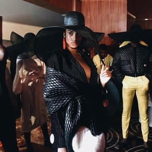Big is beautifulImman rocks an oversized hat backstage at Rich Mnisi, a ready-to-wear designer from Johannesburg.
