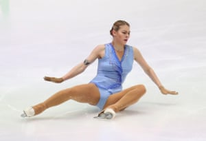 Latvia's Angelina Kuchvalska falls while competing in the ISU European figure skating championships in Graz, Austria