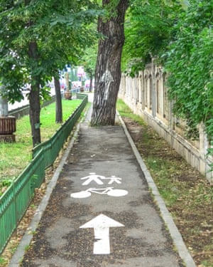 Bike path in Bucharest.