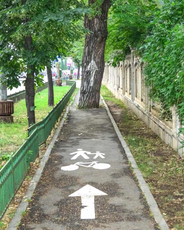 Bike path in Bucharest.