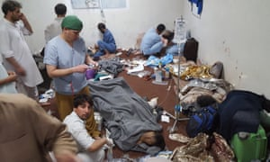 Medical personnel treat wounded colleagues and patients in the MSF hospital in Kunduz on 3 October in the aftermath of the airstrike.