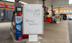 The Texaco petrol station on the Farnham Road in Slough had run out of both petrol and diesel today, but a notice told customers that a delivery was due tomorrow.