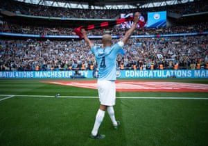 Kompany bids a final farewell to Manchester City fans at Wembley after his last game for the club.