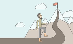 Illustration of a man climbing a mountain with a flag on top
