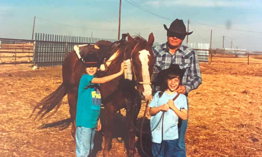 From left: Brandon Alexander, his sister, and his grandfather.