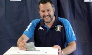 Matteo Salvini casts his ballot in Milan on Sunday.