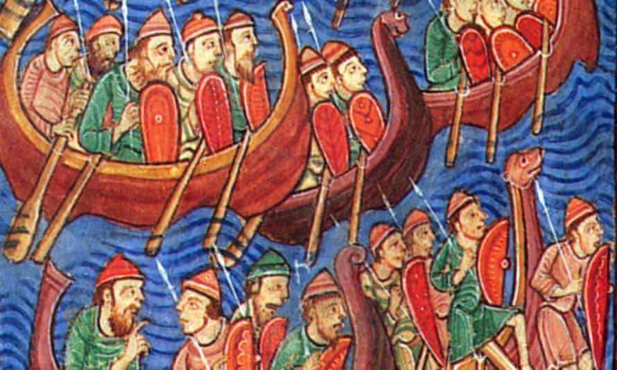 Invasion of the Danes ... illuminated manuscript depicting Ivar Ragnarsson (nicknamed the Boneless), with his brothers Halfdan and Ubbe.