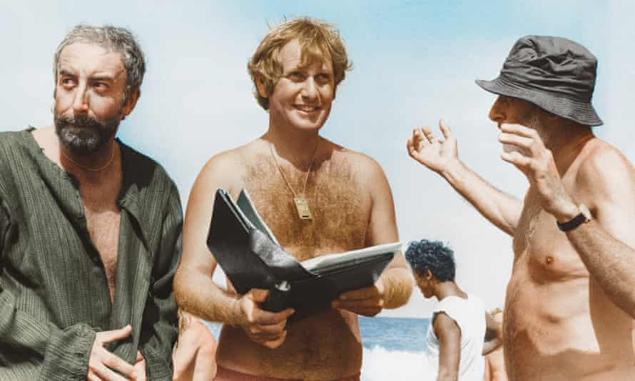 Peter Medak, centre, directs Peter Sellers, left, and Spike Milligan in the unreleased Ghost in the Noonday Sun in 1973 on location in Cyprus.