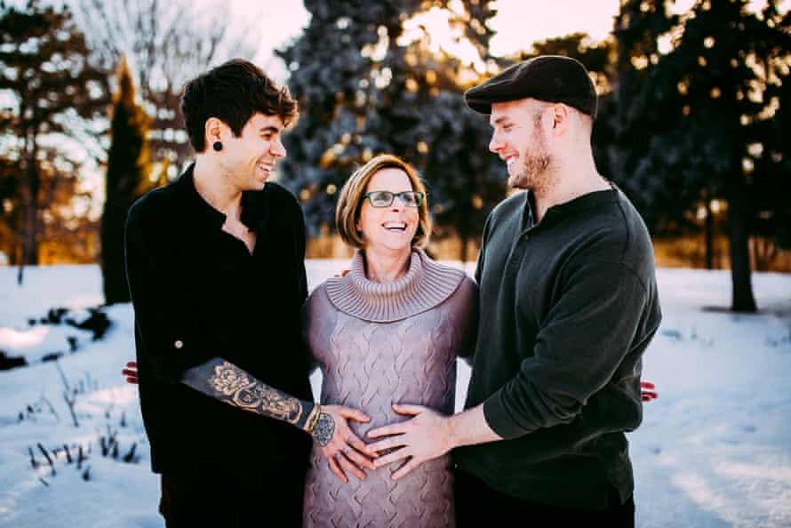 Cecile Eledge with her son Matthew, right, and Elliott Dougherty a few days before the birth.