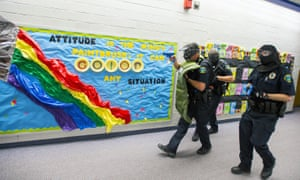 Police conduct an Active Shooter Response Training exercise at a middle school in Fountain, Colorado.