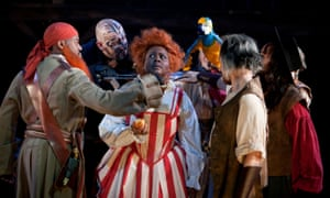 Andrea Davy as Red Ruth, centre, in Treasure Island at Birmingham Rep