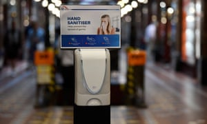 Free hand sanitiser is provided for the public at The Strand Arcade in Sydney, 24 March 2020.