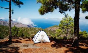 Campsite at 1,400 metres in pine forest on Gran Canaria in the Canary islands.