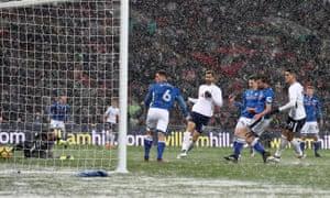 Fernando Llorente of Tottenham scores his team's third goal of the game.