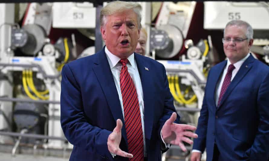 Donald Trump and Scott Morrison at the opening of Pratt Paper Plant in Wapakoneta, Ohio, 22 September 2019