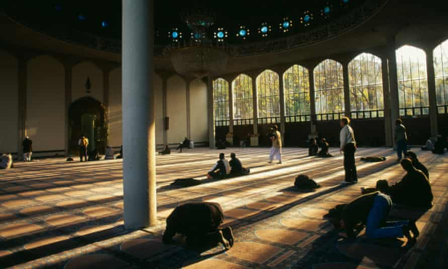 Muslims at prayer inside the mosque in Regent's Park, London.