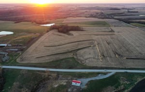 An aerial view of mostly harvested farmland at sunset in the final days of the 2020 presidential election on October 30, 2020 in Lacona, Iowa. Agriculture remains a vital part of the battleground state's economy. Democratic presidential nominee Joe Biden made a campaign stop in Des Moines today with President Donald Trump scheduled to hold a rally in Dubuque on November 1.